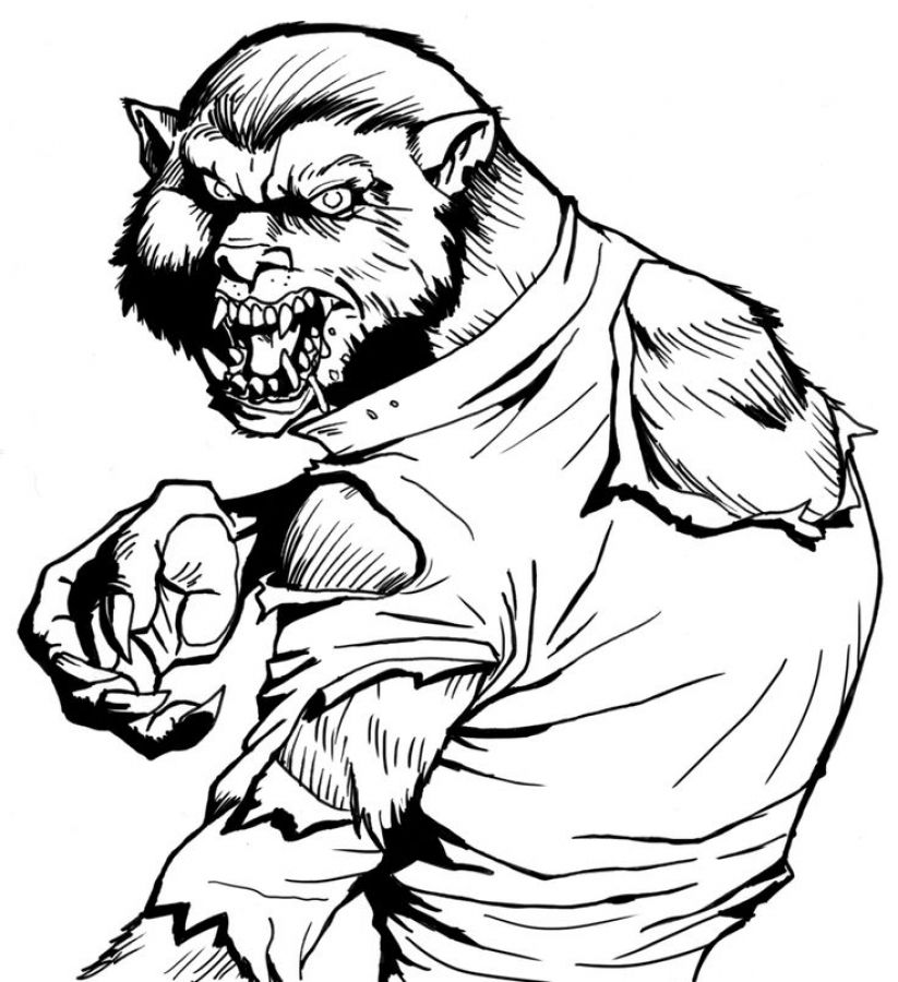 Monstrous Werewolf coloring pages free printable Fantasy