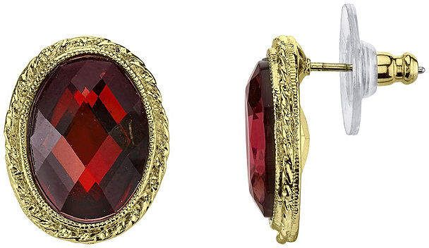 82e3633c1 1928 Jewelry 1928 Red Stone Gold-Tone Button Earrings