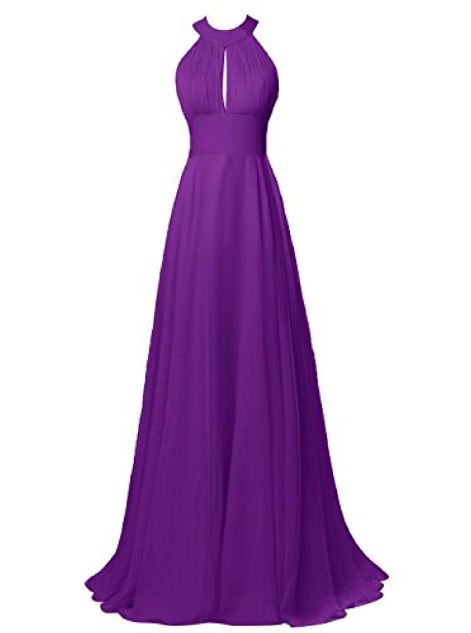 Tideclothes Long Halter Chiffon Bridesmaid Dress Sexy Backless Prom ...