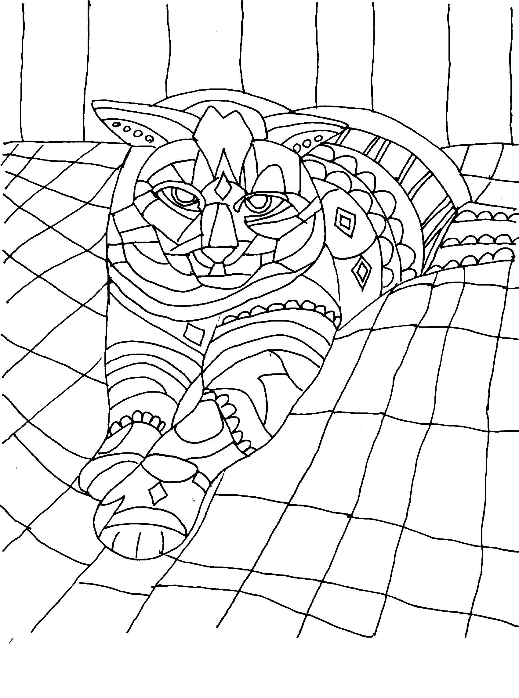 Abstract Cat On Blanket Coloring Pages Adult Coloring Pages