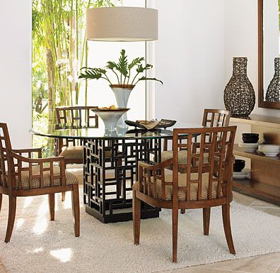 Tommy Bahama Ocean Club South Sea Round Glass Dining Table