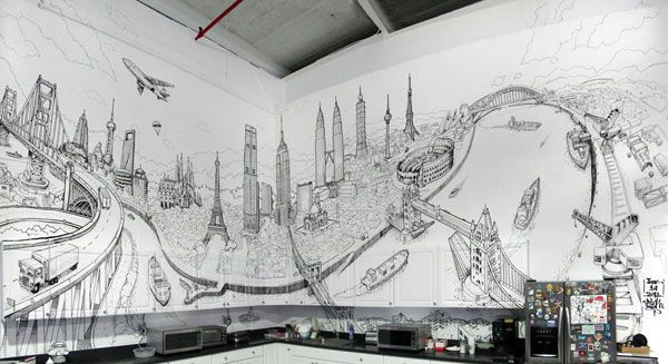 Artistic And Very Creative Kitchen Wall Decor Cityscape Mural