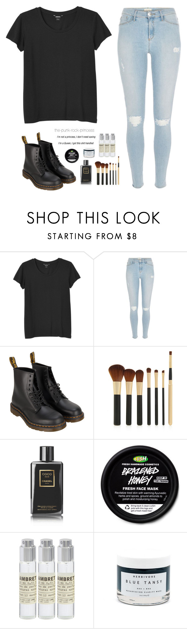 """""""Untitled #123"""" by the-punk-rock-princess ❤ liked on Polyvore featuring Monki, River Island, Dr. Martens, Forever 21, Chanel, Le Labo and Herbivore"""