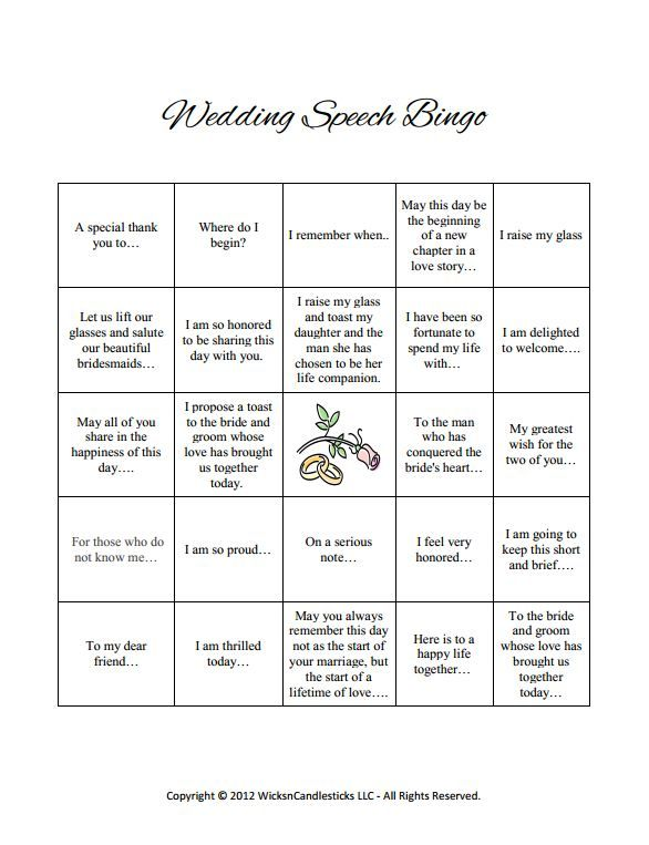B-I-N-G-O!!! I love wedding speech bingo! Download our free and no - wedding speech example
