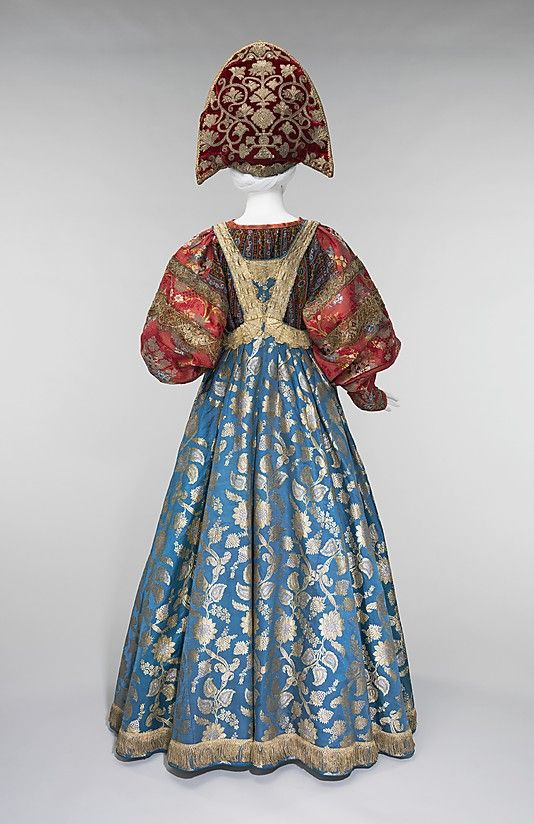 Ensemble Date: 19th century Culture: Russian Medium: silk, metal, cotton Dimensions: Length at CB (a): 56 in. (142.2 cm) Length at CB (b): 1...