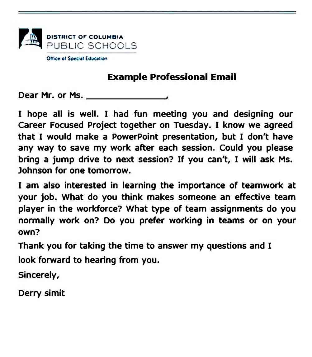 sample professional email business template resume word format download example for teenager with no work experience objective scholarship