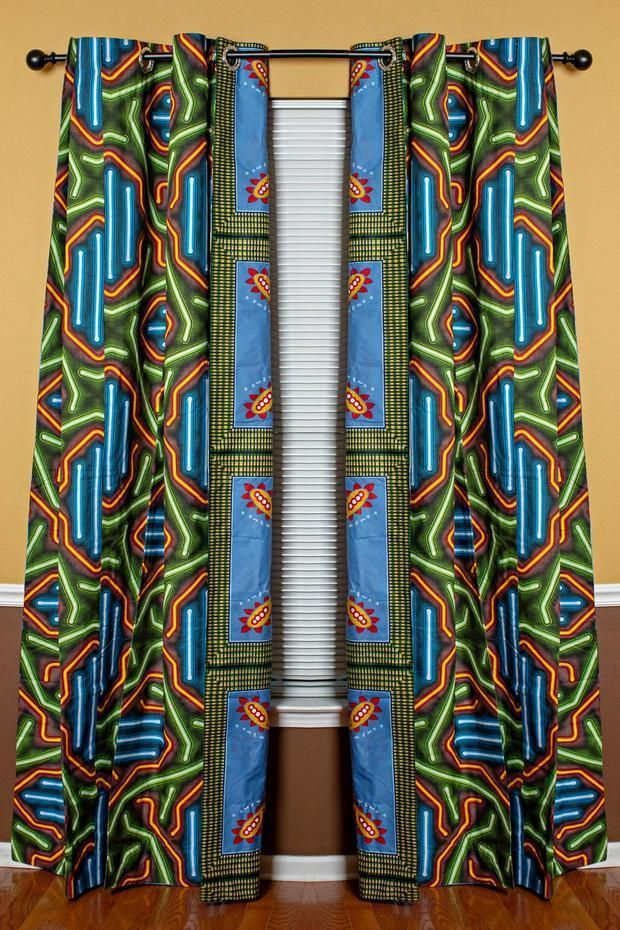 African Print Double Sided Grommet Top Curtains- Blue/ Green images