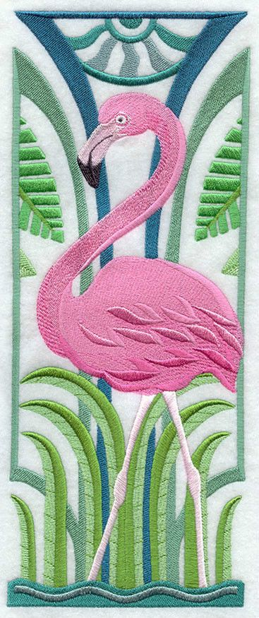 FLAMINGO ART DECO SET OF 2 BATH HAND TOWELS EMBROIDERED by laura