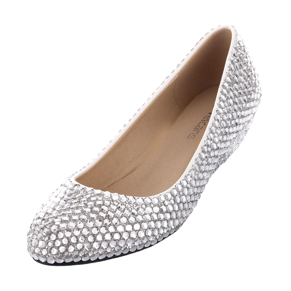 Ladies Sparkly Pearl and Rhinestone Silver Wedges Heels Platform Dress Shoes