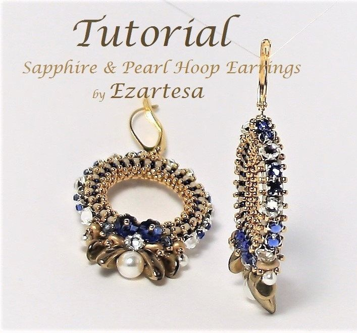 Beaded Hoop Earrings Pattern Gold Seed Bead Earring Tutorial with