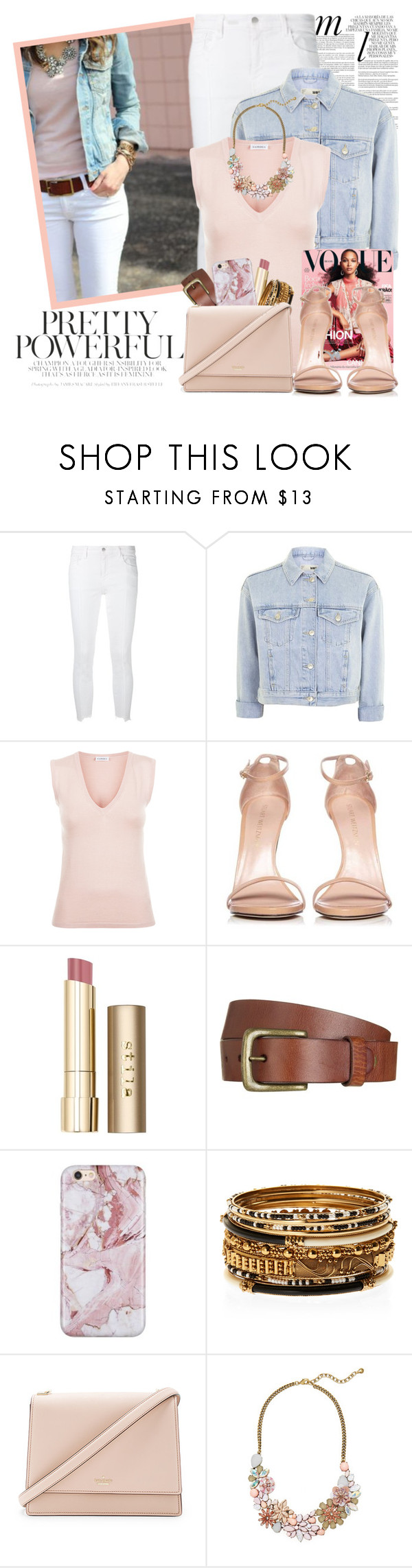 """Bright White: Summer Denim - Inspired"" by martinabb ❤ liked on Polyvore featuring Whiteley, J Brand, Topshop, Stuart Weitzman, Stila, Will Leather Goods, Amrita Singh, Kate Spade and BaubleBar"