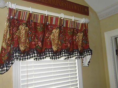 Valance Swag Curtain Waverly Red Gold
