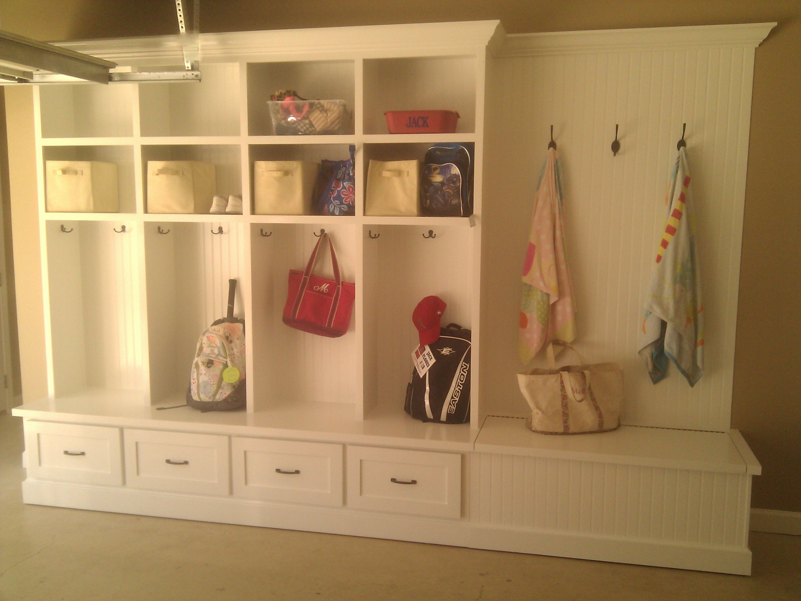 Bead Board Locker Custom Built In Mudroom Garage