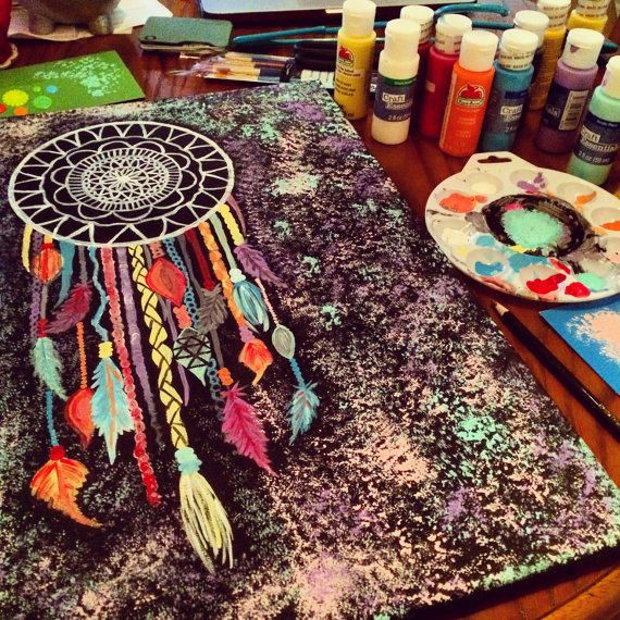 Original dreamcatcher painting done on canvas 16 x 20 for Dream catcher spray painting