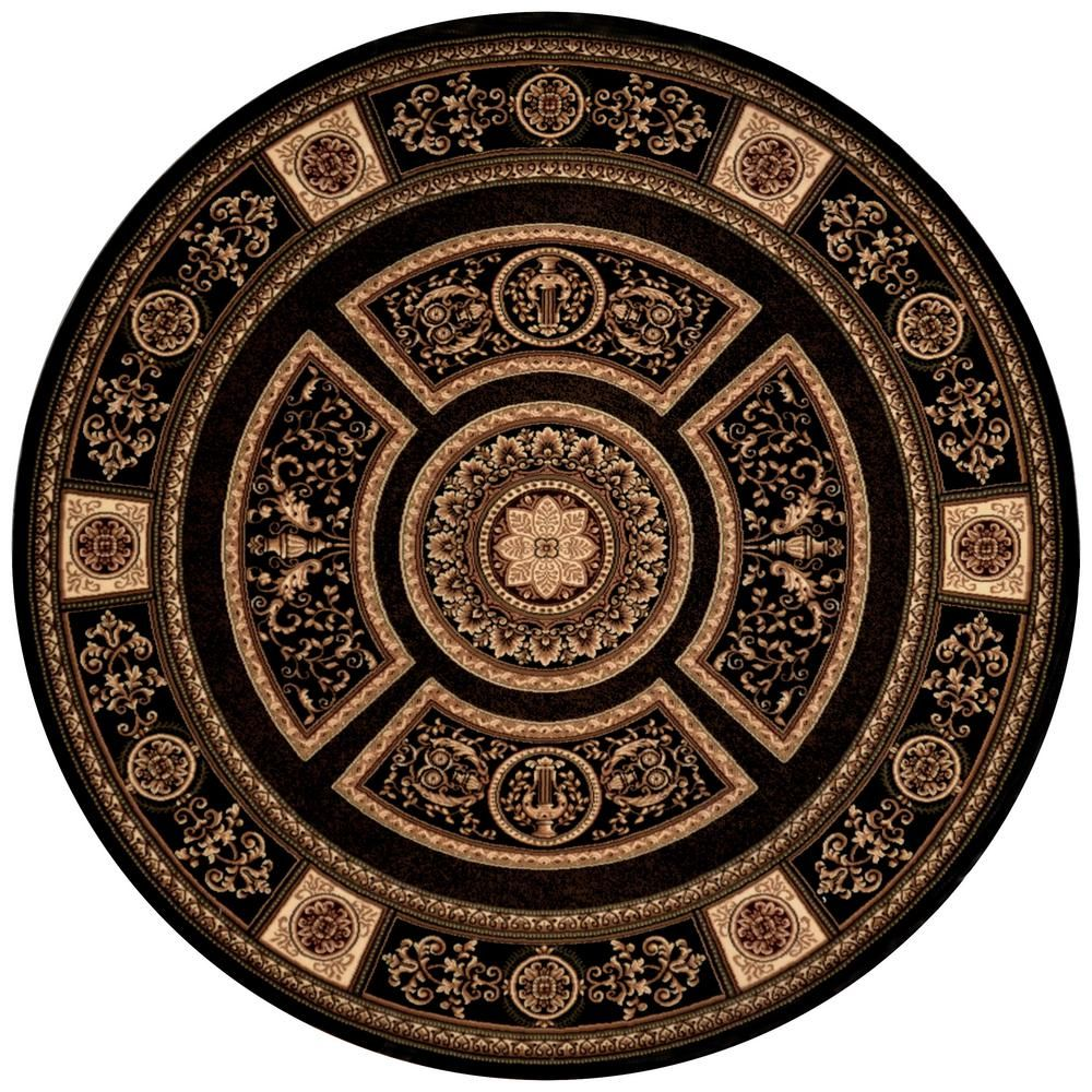 Empire Black 5 Ft 2 In Round Area Rug Products Pinterest