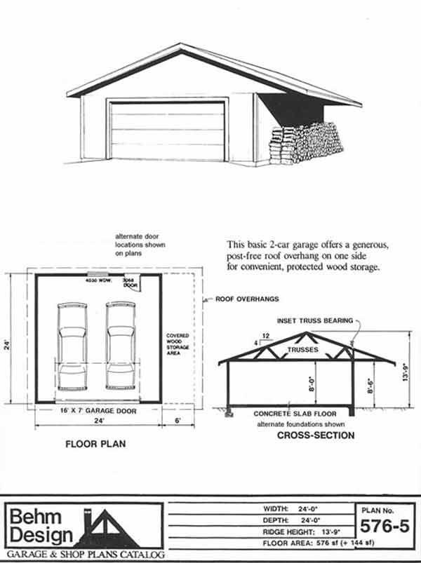 2 Car Garage Plan 576 5 With 6 Ft Side Overhang Garage Plans Garage Design Plans Garage Design