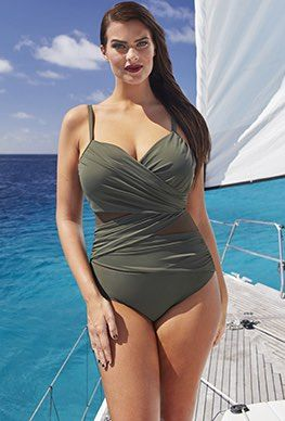 21b6649c78a88 Plus Size Vintage Bathing Suits. One Piece - Tropiculture Olive Mesh Inset  Swimsuit