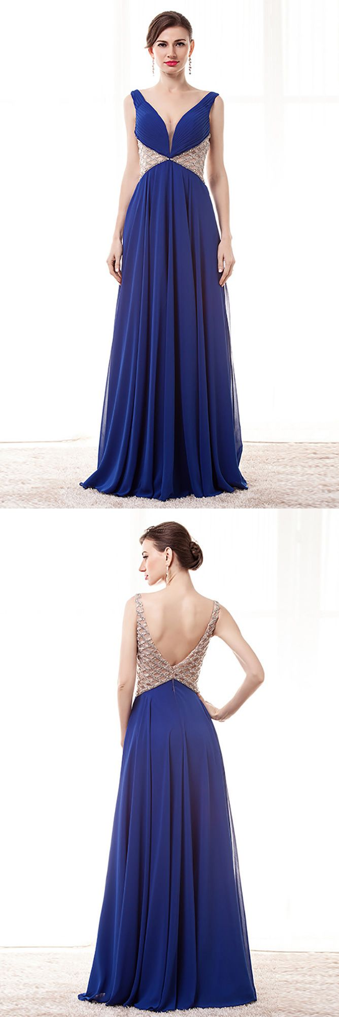 Open back vneck blue prom dress long with beading waist straps