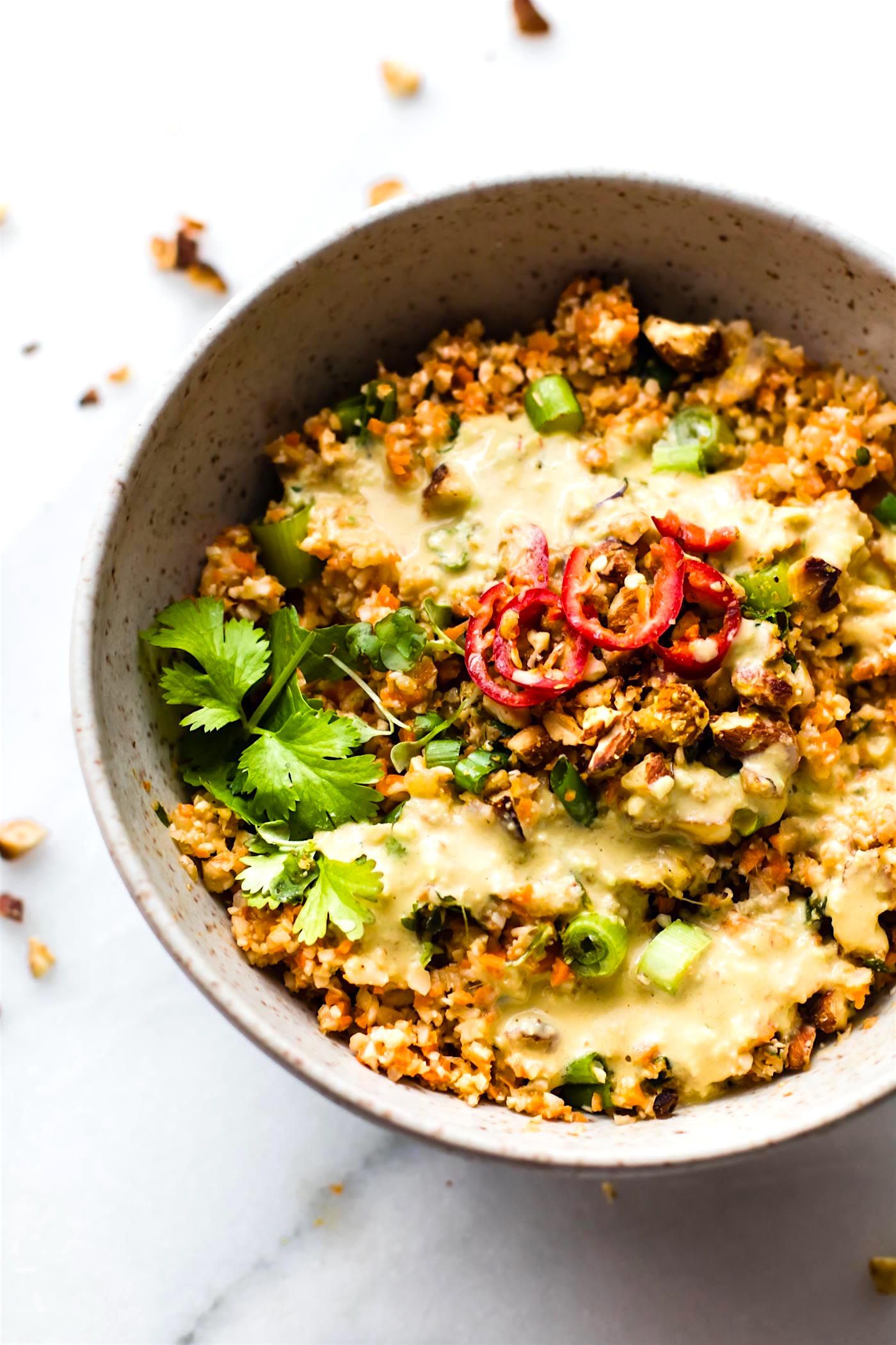 Thai Carrot Cauliflower Rice Salad With Avocado Cream Dressing Vegan Paleo