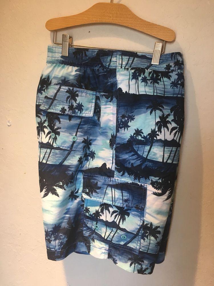 eecdac148e Tommy Bahama Relax Mens Surfing Swiming Board Shorts Blue Beach Print Sz  Large   eBay