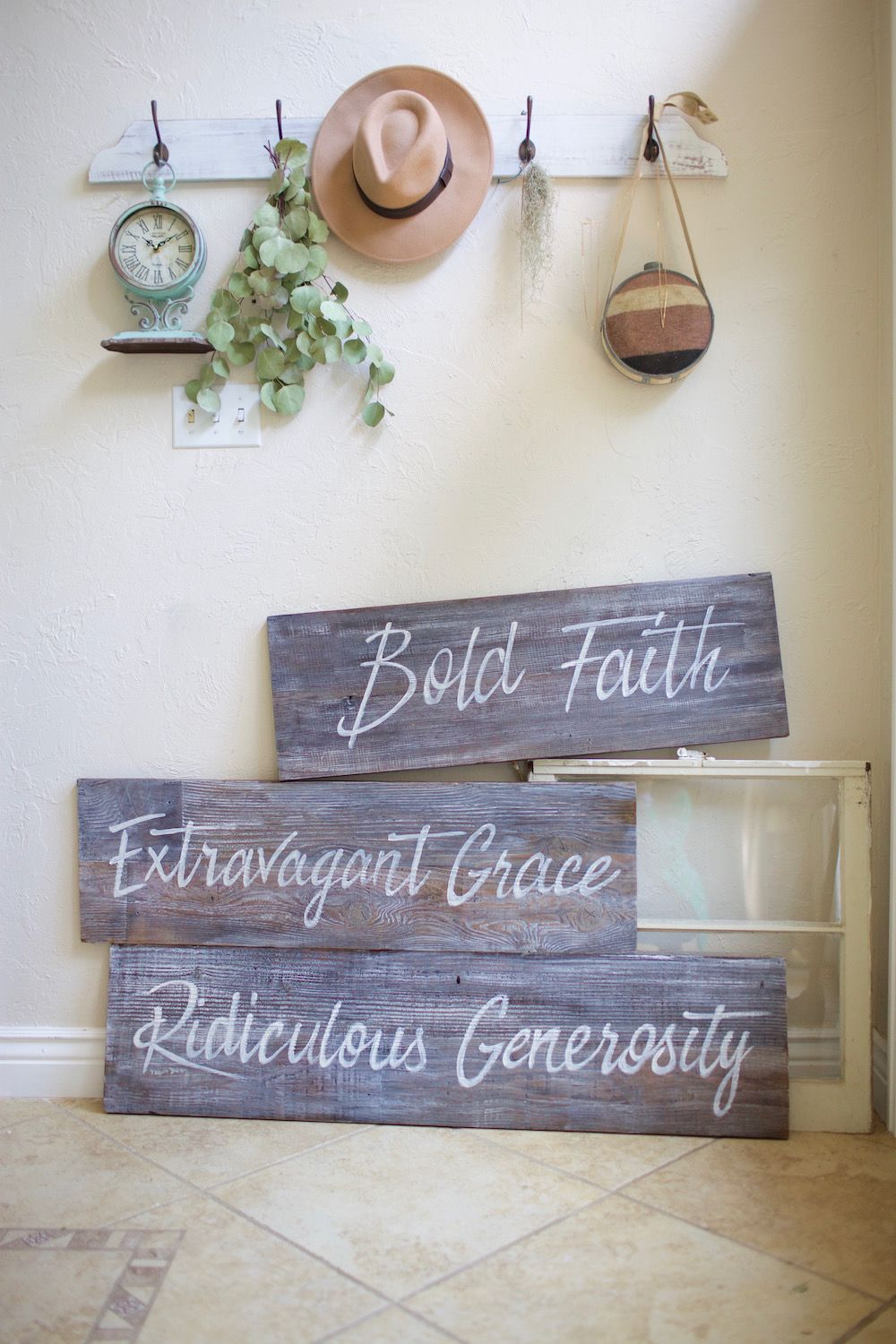 Set Of Large Graywash Stained Reclaimed Wood Signs Hand Painted For A Local Church Bold Faith Extra Rustic Wedding Signage Custom Sign Reclaimed Wood Signs