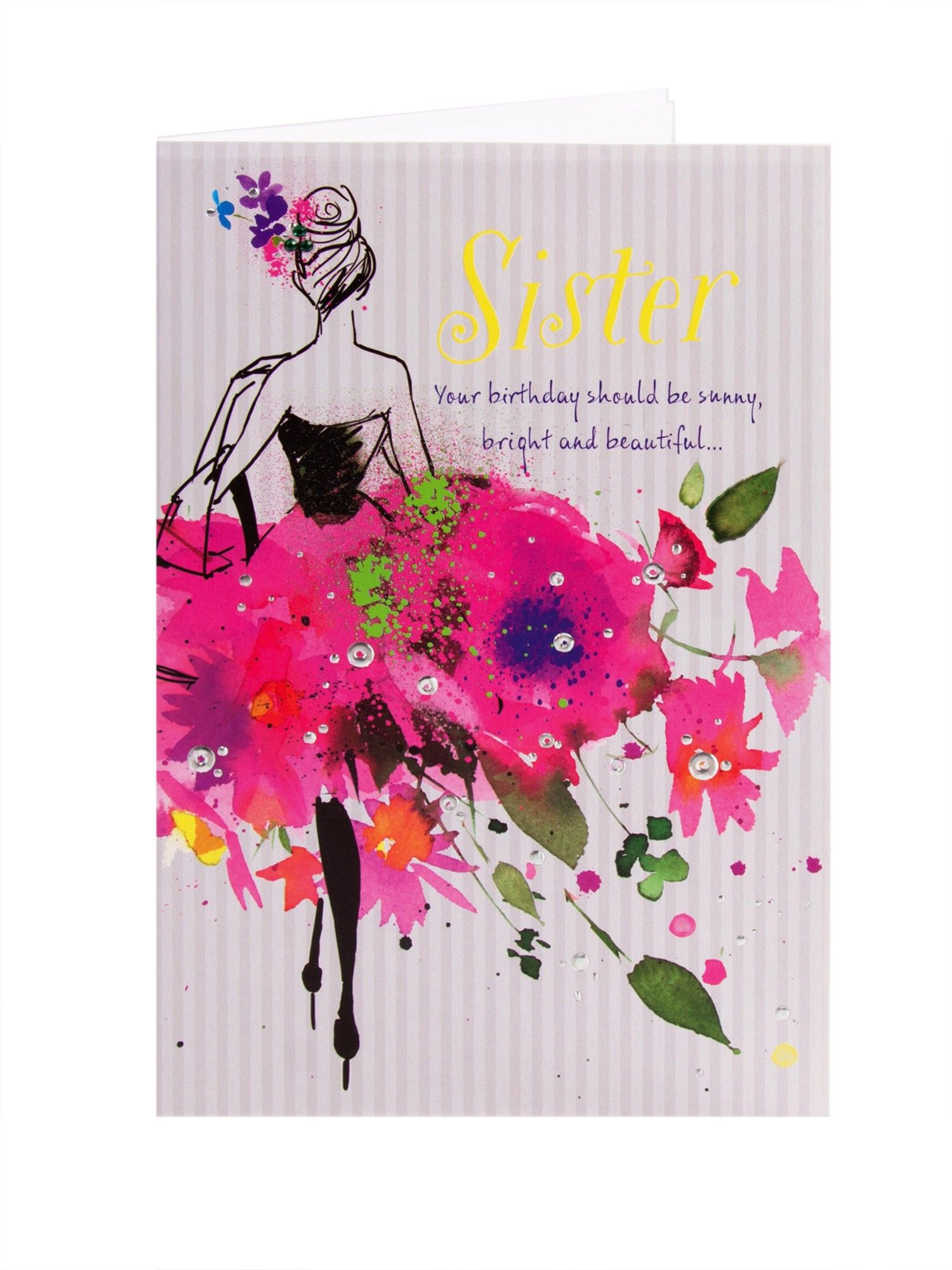 Pink floral dress birthday card for sister art n paintings pink floral dress birthday card for sister kristyandbryce Image collections
