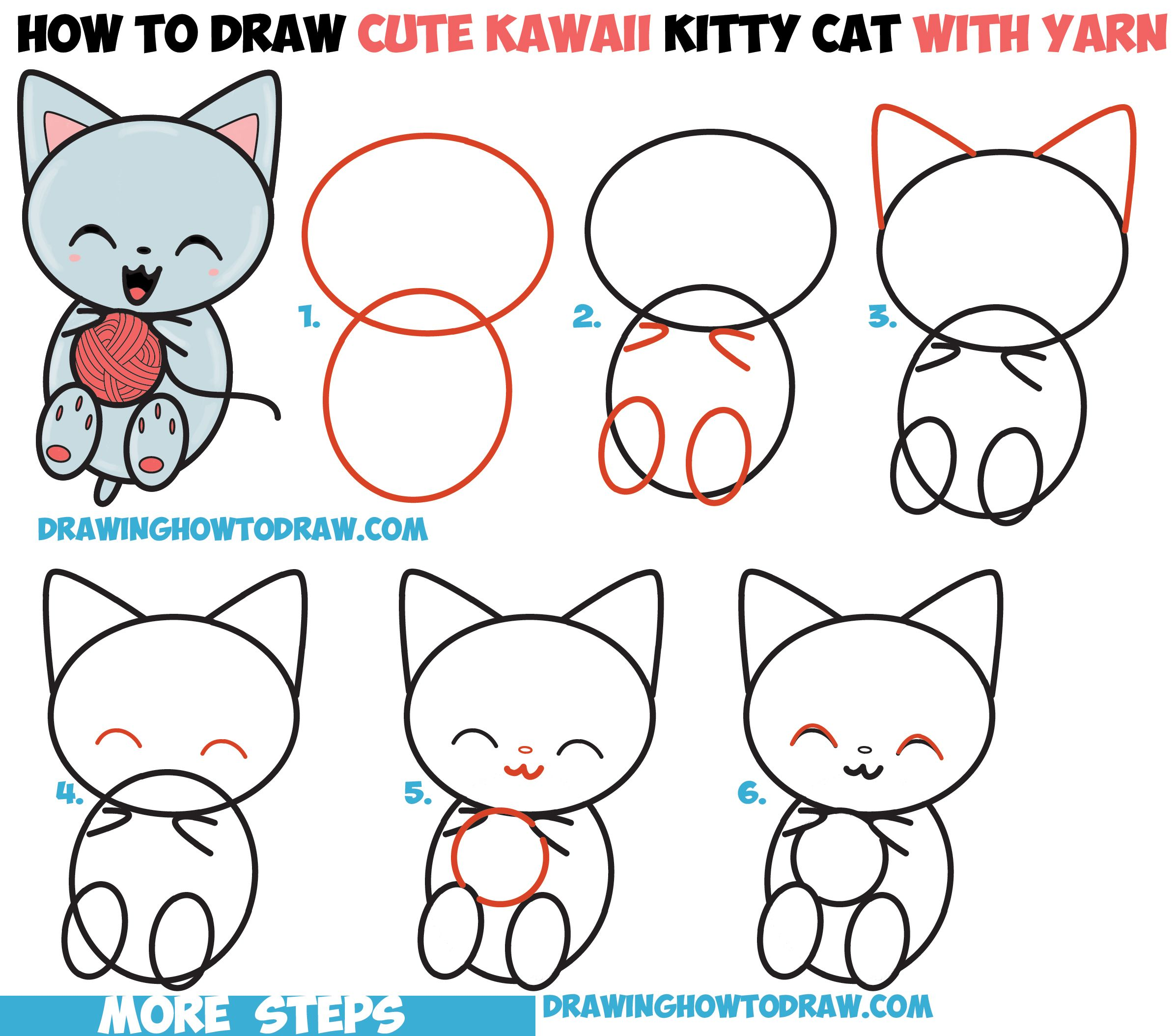 How to Draw Cute Kawaii Kitten / Cat Playing with Yarn
