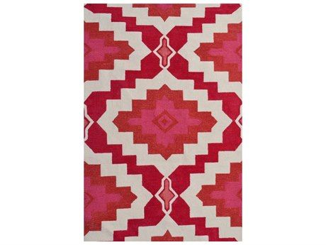 For a bold look, try this red and pink rug that carries off tribal style with stunning results.