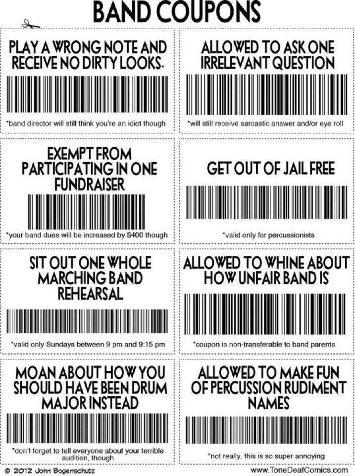 Marching band coupons - wish my band director had given