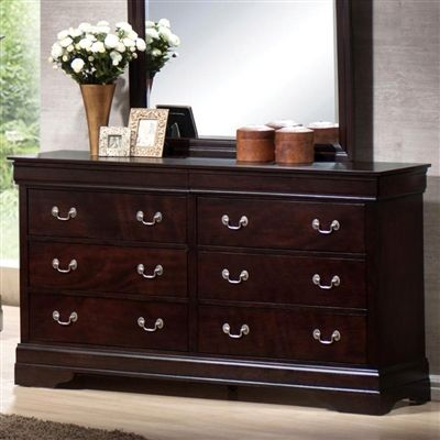 Louis Philippe Collection Dresser Cappuccino W Hidden Jewelry