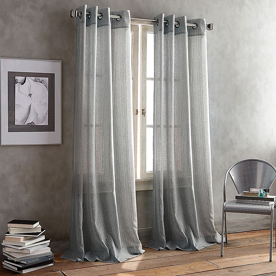 Dkny Parkside Grommet 63 Window Curtain Panel In Pewter Panel