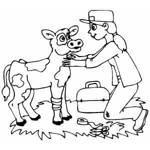 Veterinarian Helping Wounded Cow Coloring Page