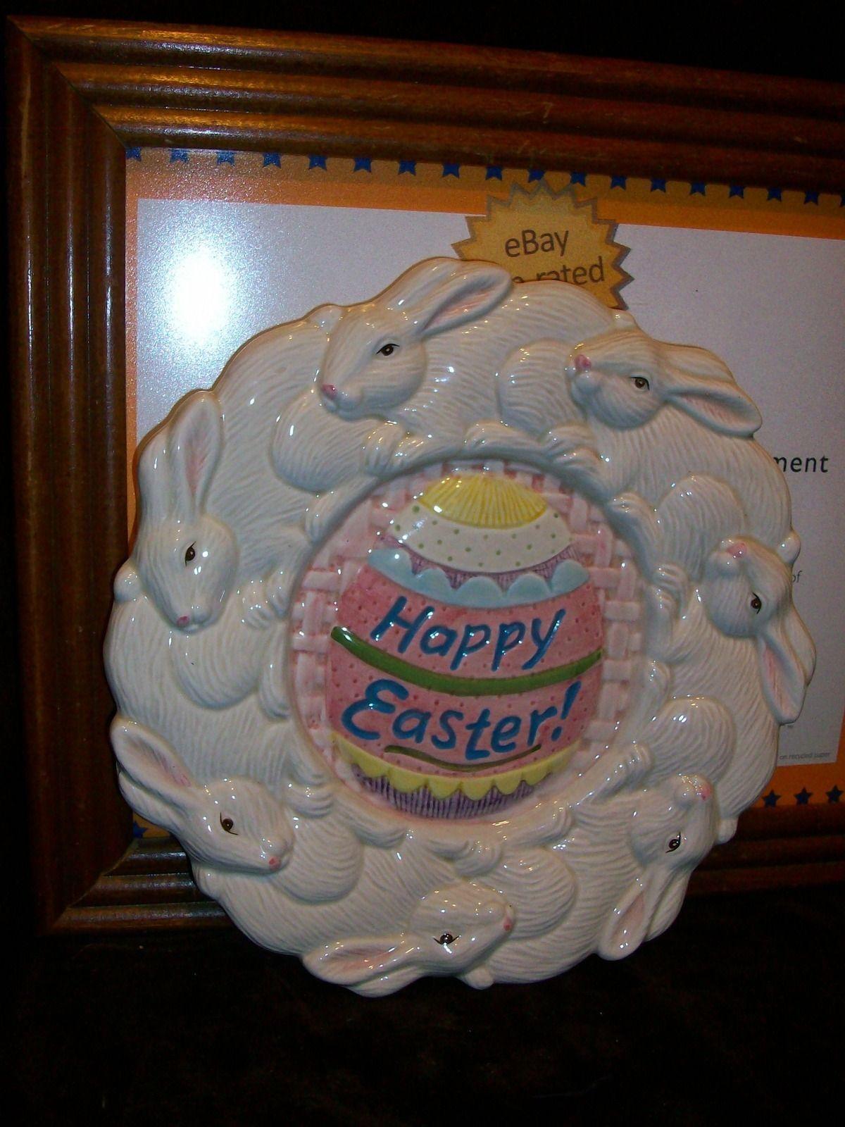 FITZ & FLOYD OMNIBUS HAPPY EASTER BUNNY RABBIT PLATE