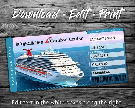 Carnival Cruise Tickets Cruise Ticket Download Editable Text Surprise Vacation Boarding Pass Cruise Gifts Cruise Kids Cruise Tickets