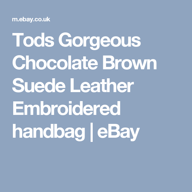cdc12872eb Tods Gorgeous Chocolate Brown Suede Leather Embroidered handbag ...
