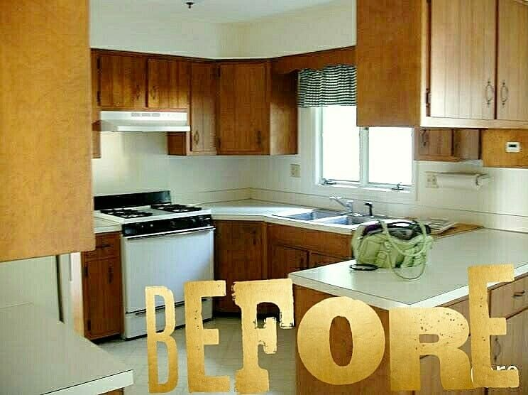 Before and after of a renovated kitchen we dont just