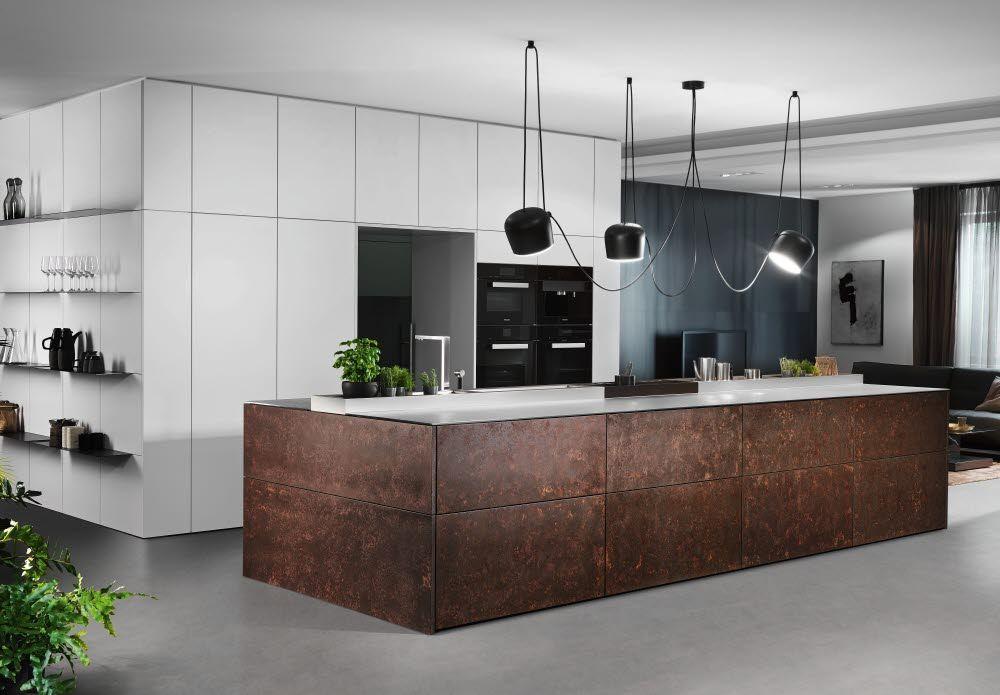 designküche in metalloptik  küchen design küche moderne