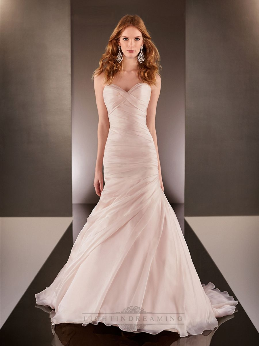 Martina Liana 587 Is A Gorgeous Fit And Flare Bridal Gown It Features Ruched Sweetheart Bodice Asymmetrical Ruching Down Through The Hips To Hug