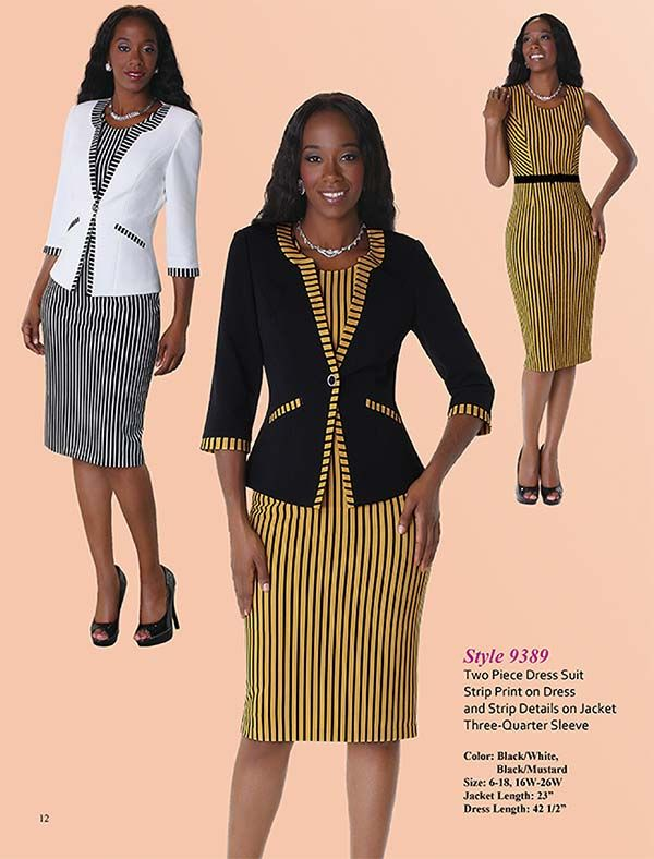 Tally Taylor 9389 Womens Two Piece Stripe Print Dress Suit Office