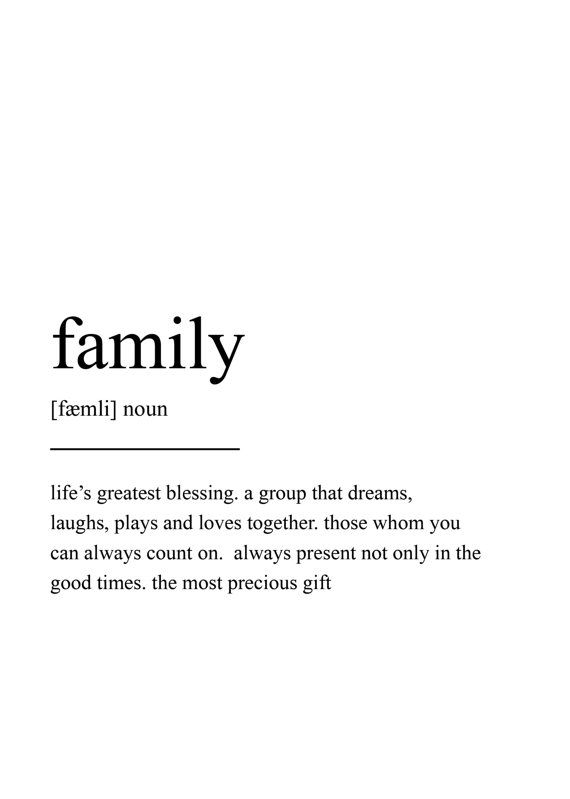 Family definition print wall art print quote print wall for Minimal art family