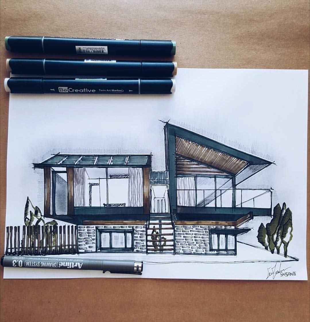 """Art & Architecture Inspiration on Instagram: """"Beautiful #sketch by @tasdemirecem ... - Silver House visualized by Hyde + Hyde Studio Architects, Peninsula #SouthWales ..."""" - Rebel Without"""