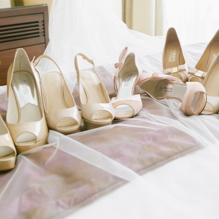 Cream or nude pumps are a perfect choice for your bridesmaids' footwear. It offers them lots of flexibility when it comes to choosing a pair of shoes that fits their budget and style. Image: Andreas Avdoulos Photography