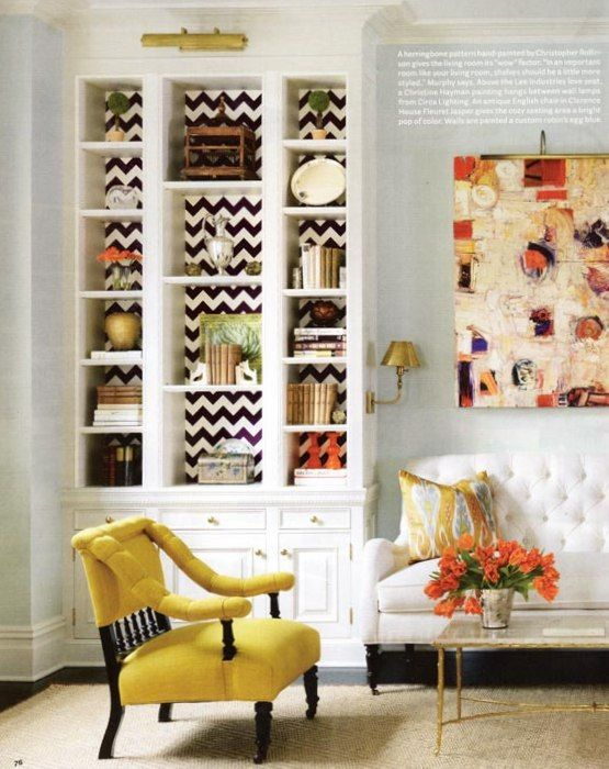 chevron wallpaper on shelves