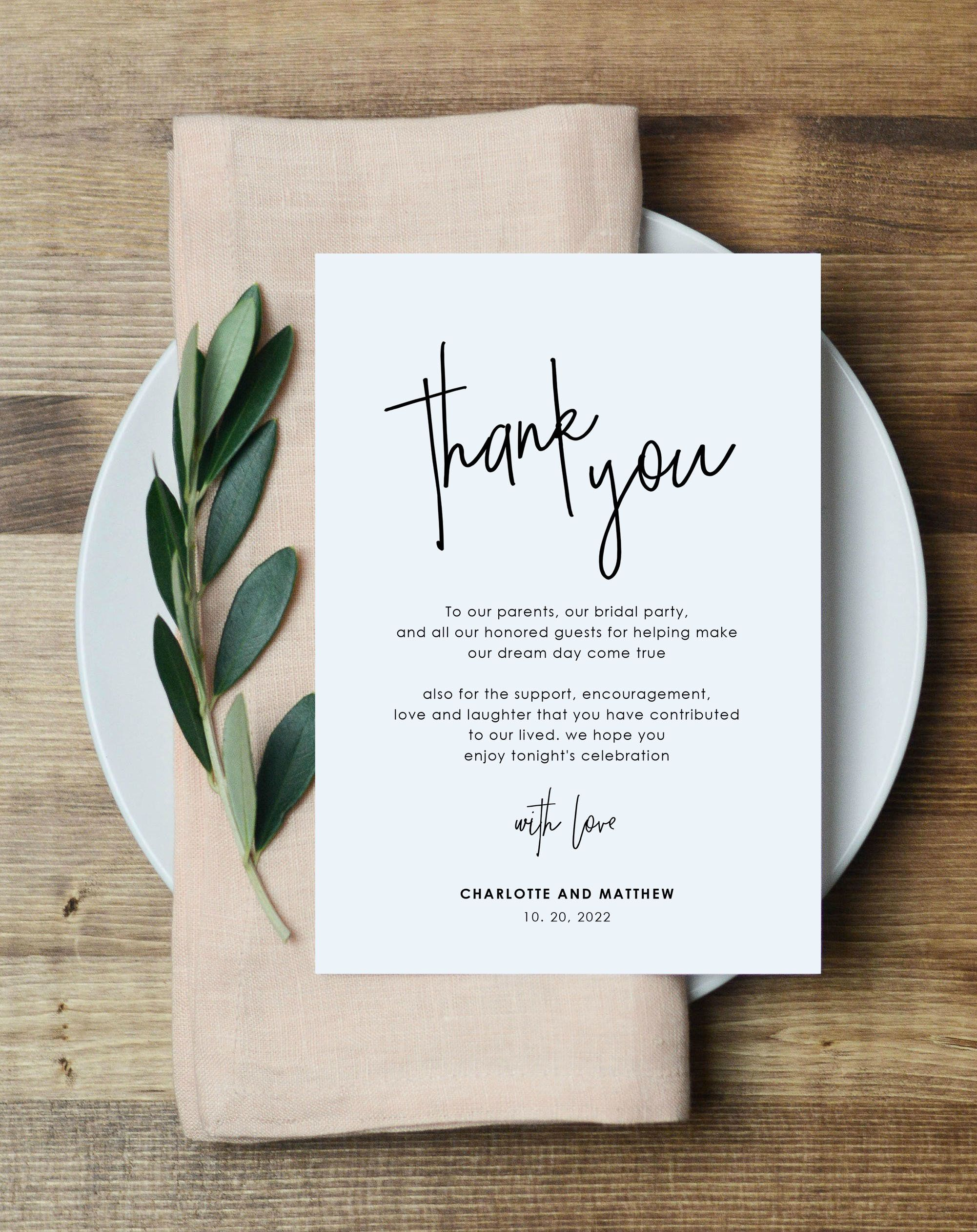 Modern Wedding Thank You Note Printable Thank You Card Template Instant Download Edit With Templett Wlp Pen 2196 In 2021 Thank You Card Template Printable Thank You Cards Wedding Thank You Wedding thank you card template