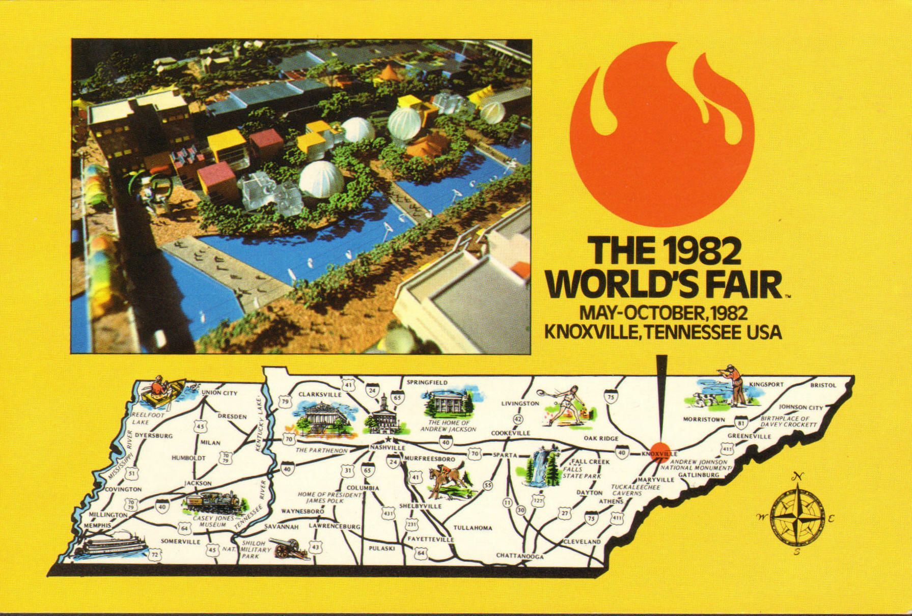 worlds fair postcard 1982 knoxville tennessee map color unused chrome souviner