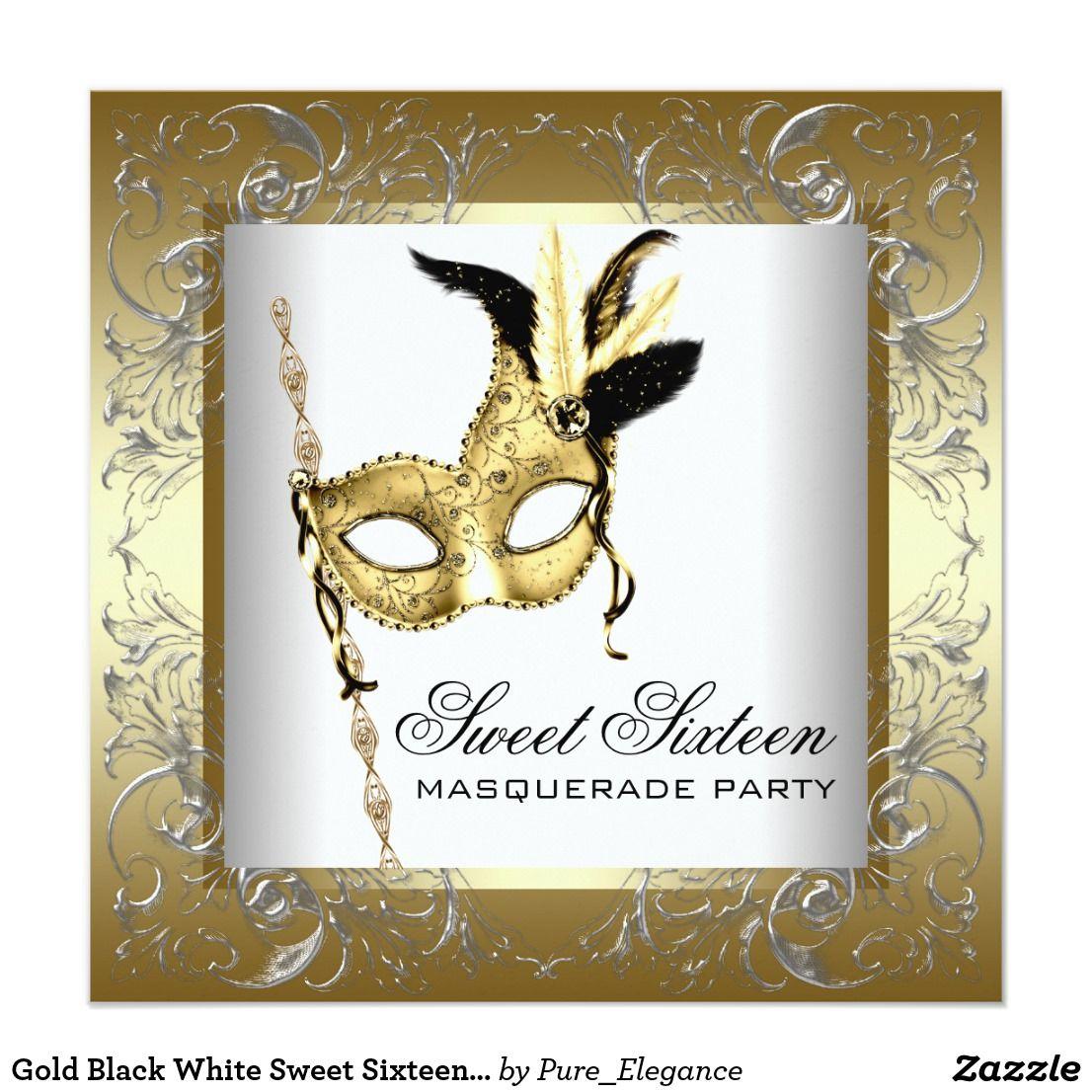 Gold Black White Sweet Sixteen Masquerade Party Invitation