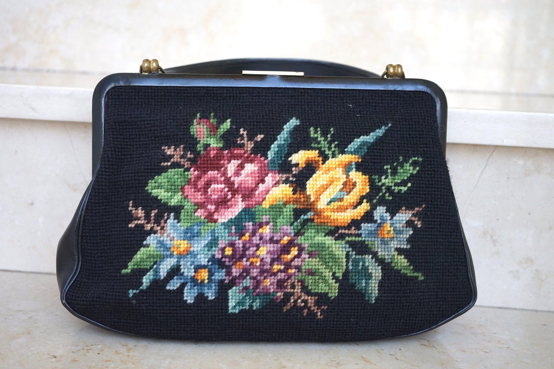 hübsche Vintage Gobelin Tasche mit bunten Blumen | Gobelin