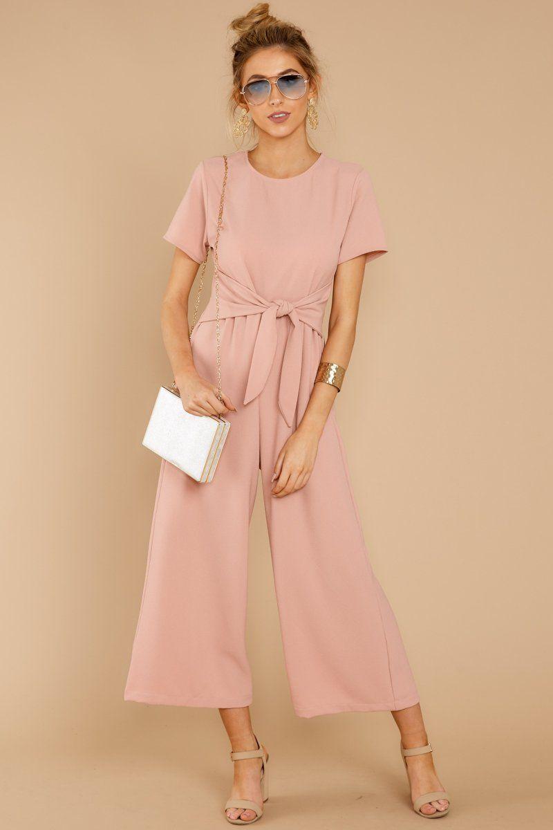 0dbd971025 Adorable Blush Pink Jumpsuit - Short Sleeve Jumpsuit - Playsuit -  44 – Red  Dress Boutique