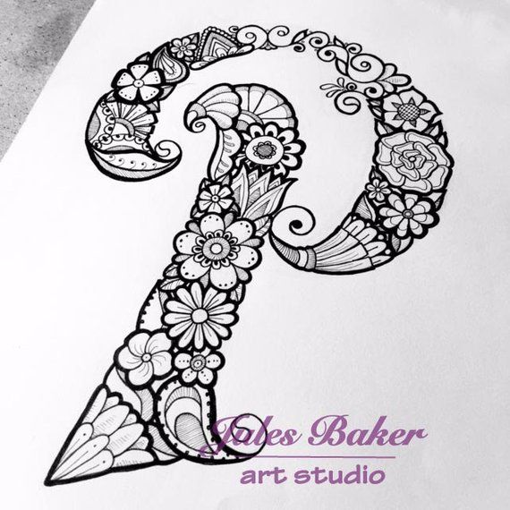 Digital Coloring Page Letter P From \letter Doodles\ Book Rhpinterest: Coloring Pages For Letter P At Baymontmadison.com