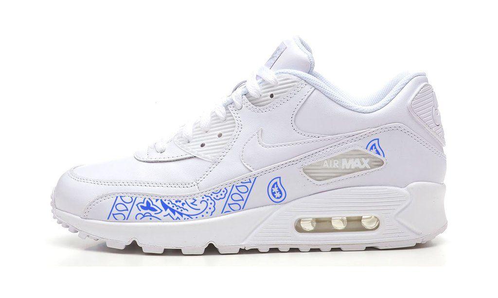 best sneakers d3e76 1a0d2 Bandana Fever Royal Blue Bandana Print Custom White Nike Air Max Shoes